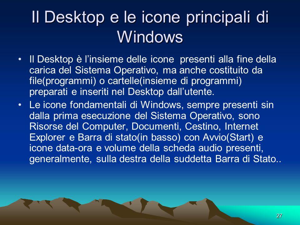 26 COME AVVIARE IL SISTEMA OPERATIVO WINDOWS Non appena si accende il Computer appaiono nello schermo delle scritte. Esse presentano le caratteristich