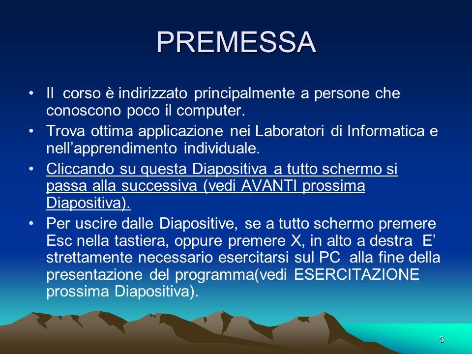 3 PREMESSA Il corso è indirizzato principalmente a persone che conoscono poco il computer.