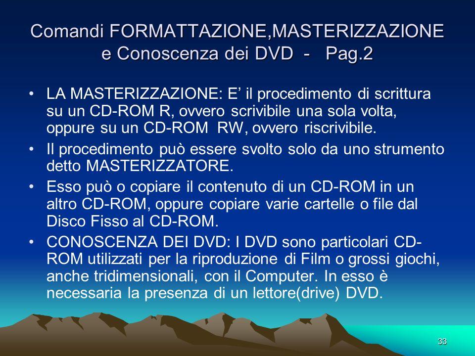 32 Comandi FORMATTAZIONE,MASTERIZZAZIONE e Conoscenza dei DVD - Pag.1 TEORIA: FORMATTAZIONE DI UN DISCHETTO(Floppy Disk): Deve essere fatta in 3 casi: