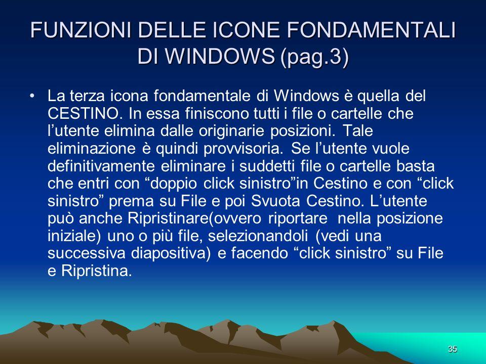 34 FUNZIONI DELLE ICONE FONDAMENTALI DI WINDOWS (pag.2) La seconda Icona fondamentale di Windows è quella dei DOCUMENTI. E una cartella presente dentr