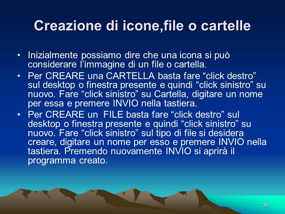 37 FUNZIONI DELLE ICONE FONDAMENTALI DI WINDOWS (pag.5) Le ICONE DELLA BARRA DI STATO: A) AVVIO o START: E una fondamentale icona di Windows. Con clic