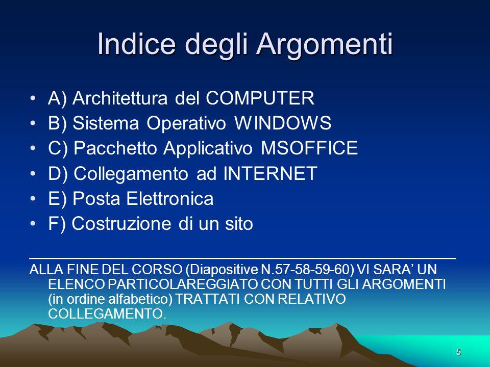 5 Indice degli Argomenti A) Architettura del COMPUTER B) Sistema Operativo WINDOWS C) Pacchetto Applicativo MSOFFICE D) Collegamento ad INTERNET E) Posta Elettronica F) Costruzione di un sito ________________________________________ ALLA FINE DEL CORSO (Diapositive N.57-58-59-60) VI SARA UN ELENCO PARTICOLAREGGIATO CON TUTTI GLI ARGOMENTI (in ordine alfabetico) TRATTATI CON RELATIVO COLLEGAMENTO.