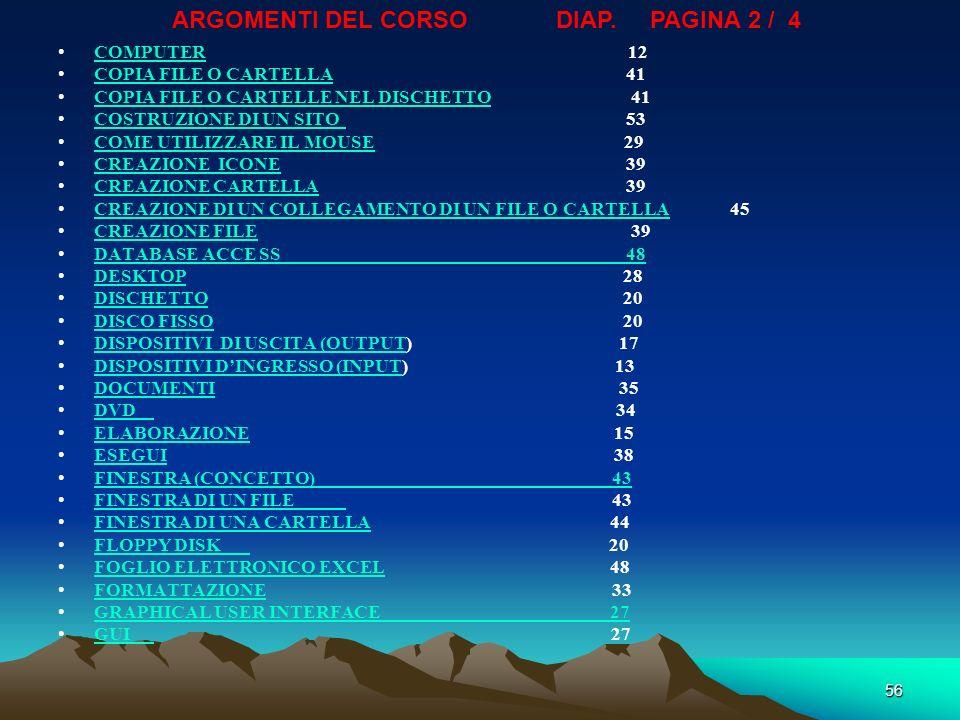 55 ARGOMENTI DEL CORSO PAGINA 1 / 4DIAP. AVVIAMENTO SISTEMA OPERATIVO27 AVVIO38 BARRE DI UNA FINESTRA DI CARTELLA44 BARRE DI UNA FINESTRA DI UN FILE43