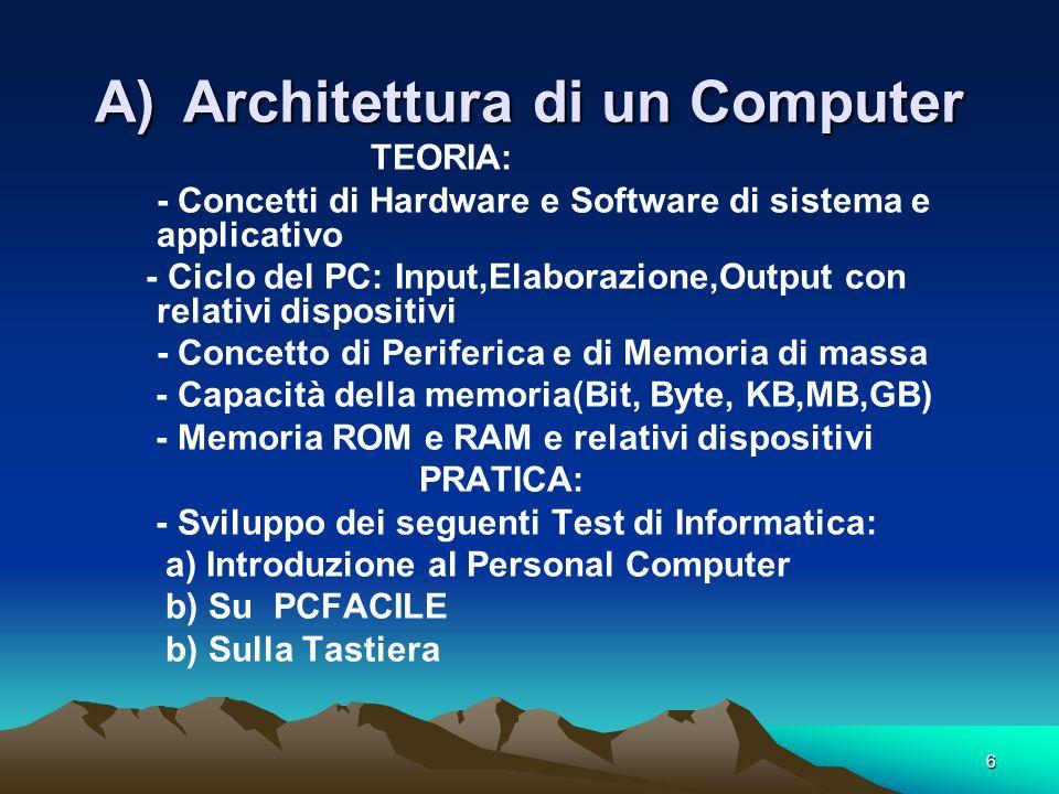 6 A)Architettura di un Computer TEORIA: - Concetti di Hardware e Software di sistema e applicativo - Ciclo del PC: Input,Elaborazione,Output con relativi dispositivi - Concetto di Periferica e di Memoria di massa - Capacità della memoria(Bit, Byte, KB,MB,GB) - Memoria ROM e RAM e relativi dispositivi PRATICA: - Sviluppo dei seguenti Test di Informatica: a) Introduzione al Personal Computer b) Su PCFACILE b) Sulla Tastiera