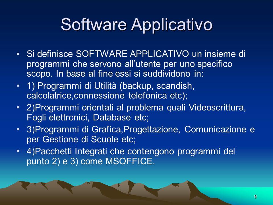 9 Software Applicativo Si definisce SOFTWARE APPLICATIVO un insieme di programmi che servono allutente per uno specifico scopo.