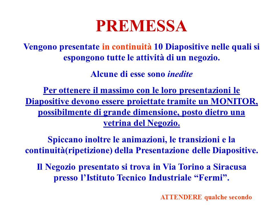 PREMESSA Vengono presentate in continuità 10 Diapositive nelle quali si espongono tutte le attività di un negozio.