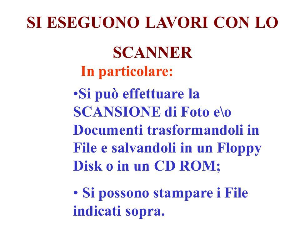 In particolare: Si può effettuare la SCANSIONE di Foto e\o Documenti trasformandoli in File e salvandoli in un Floppy Disk o in un CD ROM; Si possono stampare i File indicati sopra.