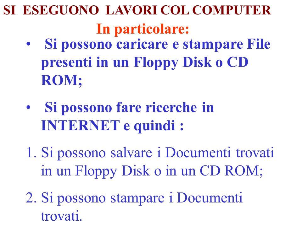 In particolare: Si possono caricare e stampare File presenti in un Floppy Disk o CD ROM; Si possono fare ricerche in INTERNET e quindi : 1.Si possono salvare i Documenti trovati in un Floppy Disk o in un CD ROM; 2.Si possono stampare i Documenti trovati.