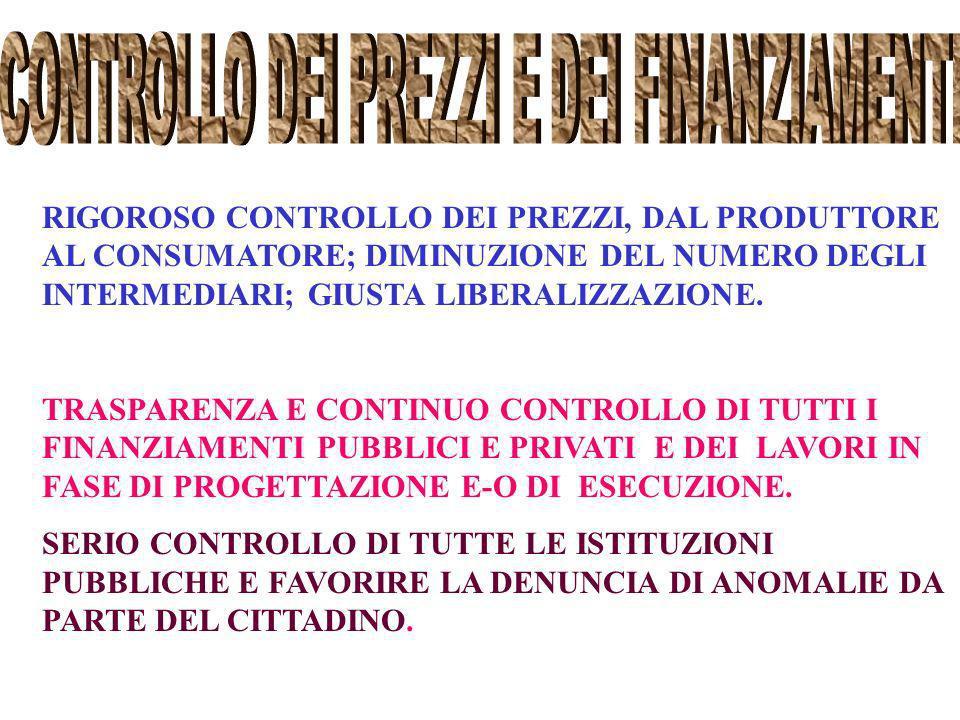 RIGOROSO CONTROLLO DEI PREZZI, DAL PRODUTTORE AL CONSUMATORE; DIMINUZIONE DEL NUMERO DEGLI INTERMEDIARI; GIUSTA LIBERALIZZAZIONE.