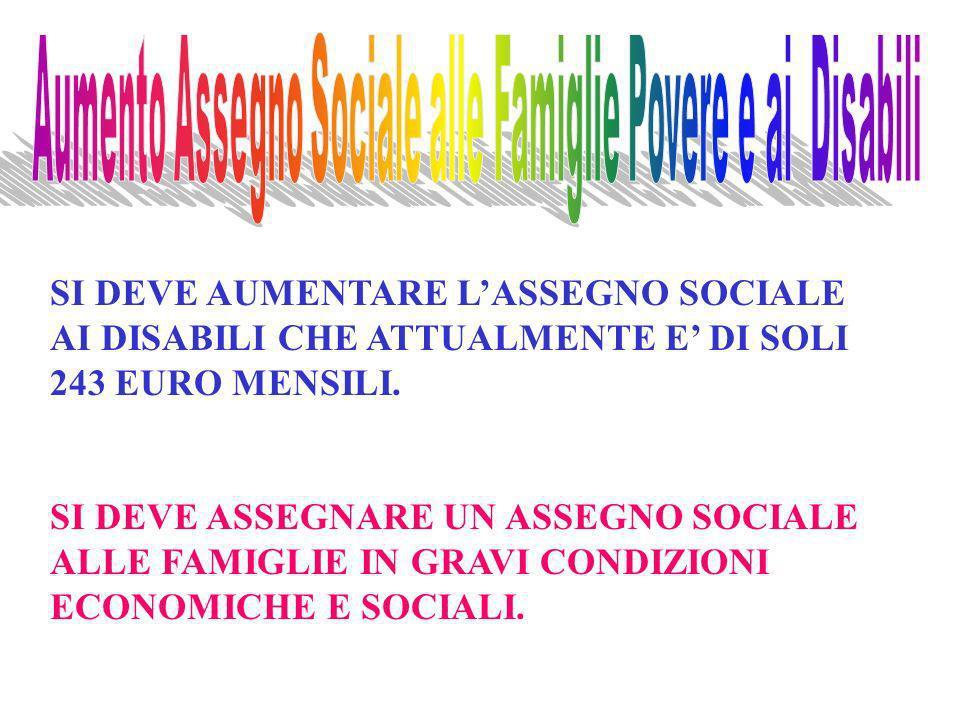 SI DEVE AUMENTARE LASSEGNO SOCIALE AI DISABILI CHE ATTUALMENTE E DI SOLI 243 EURO MENSILI.