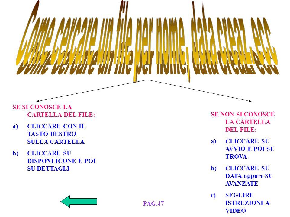 a)Si clicca su AVVIO b)Si clicca su TROVA c)Si digita IL NOME File o Cartella d)Si sceglie la Directory e)Si clicca su OK PAG.47