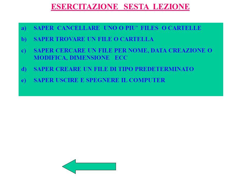 ESERCITAZIONE QUINTA LEZIONE a)SAPER CREARE UNA CARTELLA E SUBCARTELLE b)SAPER ESAMINARE UNA CARTELLA O UN FILE c)SAPER UTILIZZARE RICERCA E ANALISI PANNELLO CONTROLLO d)SAPER RINOMINARE FILE O CARTELLE e)SAPER CREARE LA CARTELLA CORSO PATENTE NEL DISCO FISSO E COPIARVI CARTELLE O FILES DEL DISCHETTO E VICEVERSA DAL DISCO FISSO AL DISCHETTO.