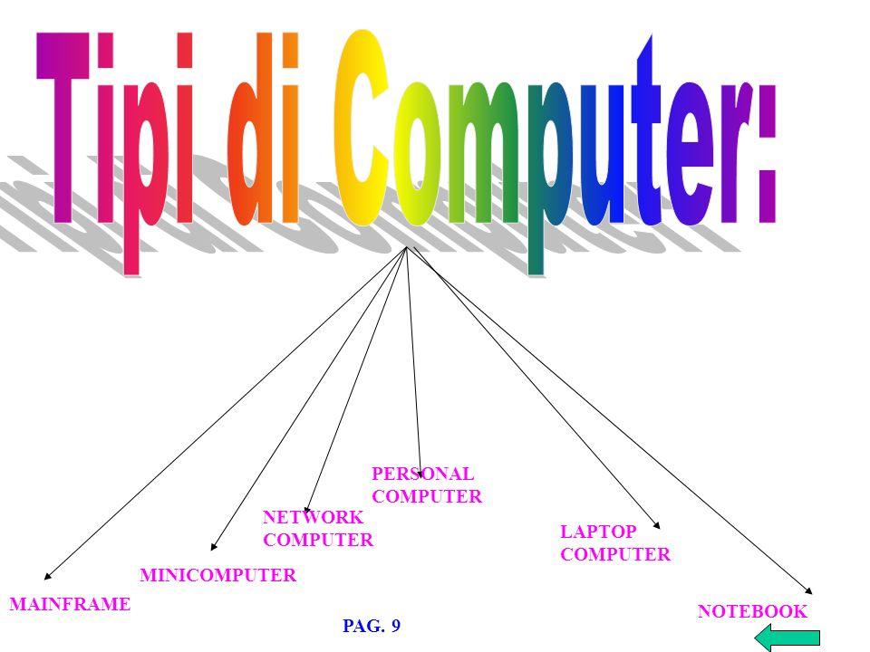 MAINFRAME MINICOMPUTER NETWORK COMPUTER PERSONAL COMPUTER LAPTOP COMPUTER NOTEBOOK PAG. 9