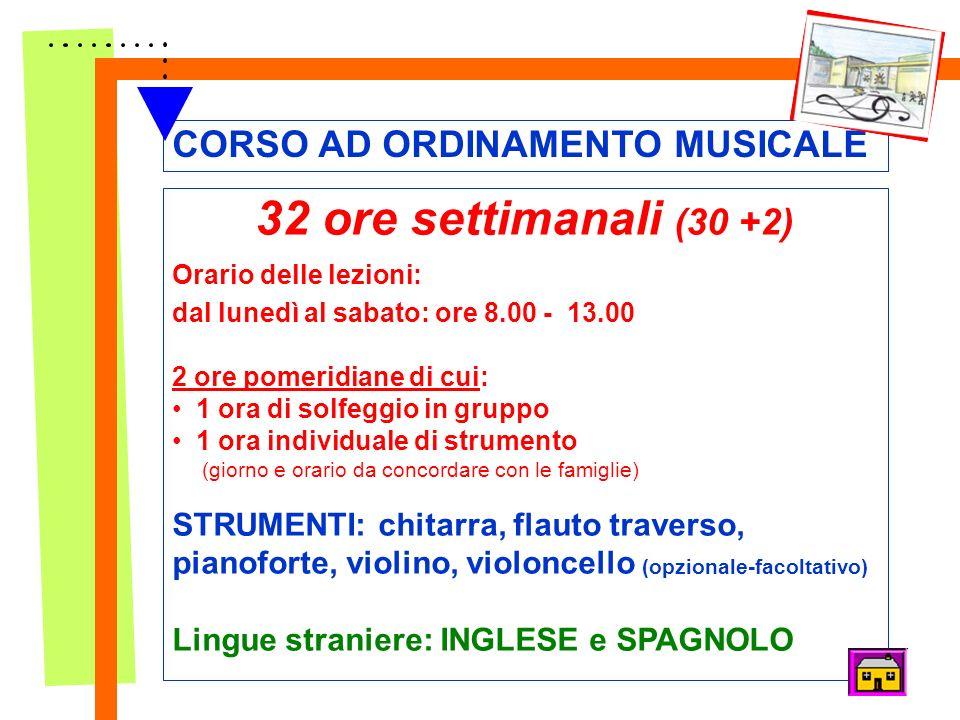 CORSO AD ORDINAMENTO MUSICALE MODELLI ORGANIZZATIVI 32 ore settimanali (30 +2) Orario delle lezioni: dal lunedì al sabato: ore 8.00 - 13.00 2 ore pome