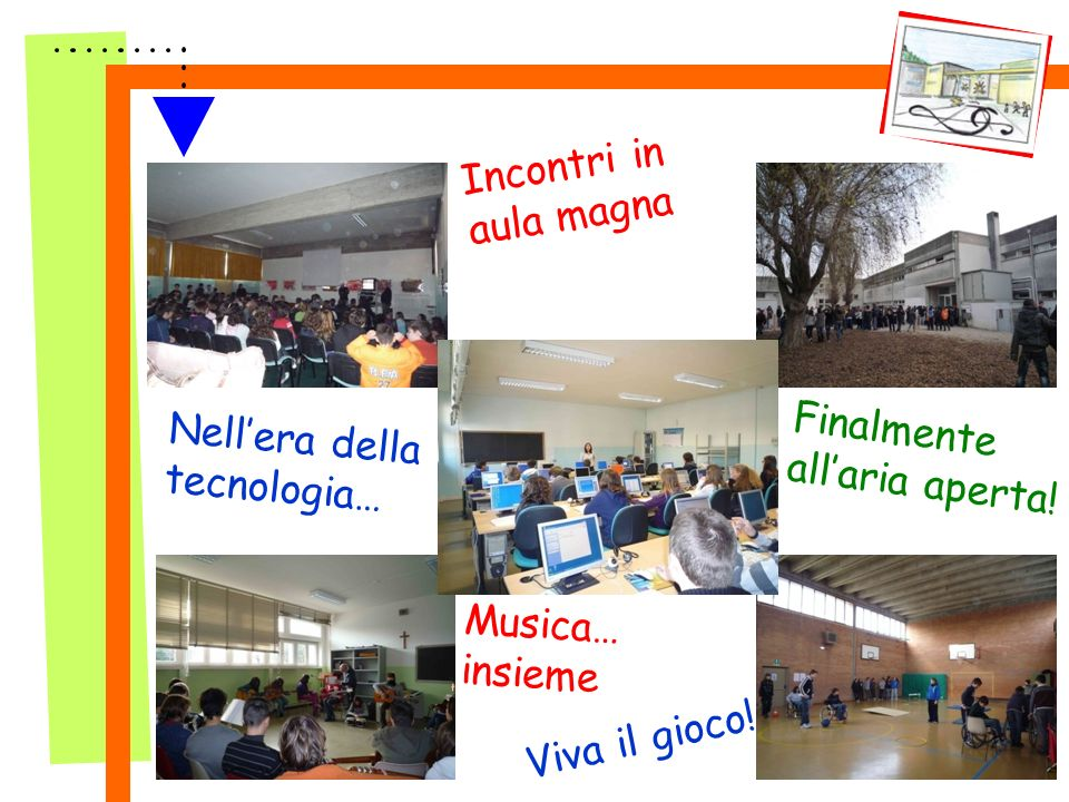 Incontri in aula magna Finalmente allaria aperta! Nellera della tecnologia… Musica… insieme Viva il gioco!