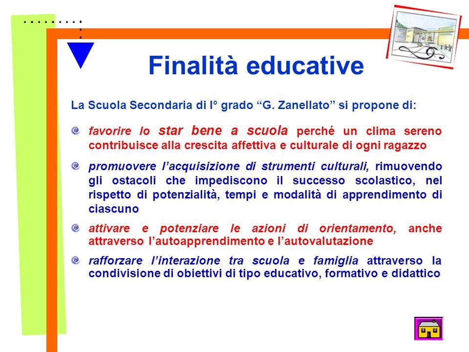 Finalità educative La Scuola Secondaria di I° grado G. Zanellato si propone di: favorire lo star bene a scuola perché un clima sereno contribuisce all