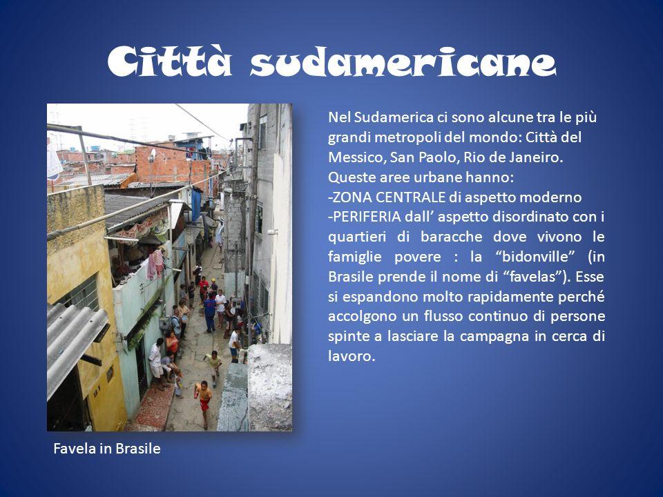Città sudamericane Nel Sudamerica ci sono alcune tra le più grandi metropoli del mondo: Città del Messico, San Paolo, Rio de Janeiro. Queste aree urba