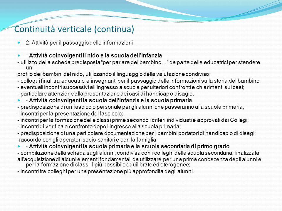 Continuità verticale (continua) 2. Attività per il passaggio delle informazioni - Attività coinvolgenti il nido e la scuola dellinfanzia - utilizzo de