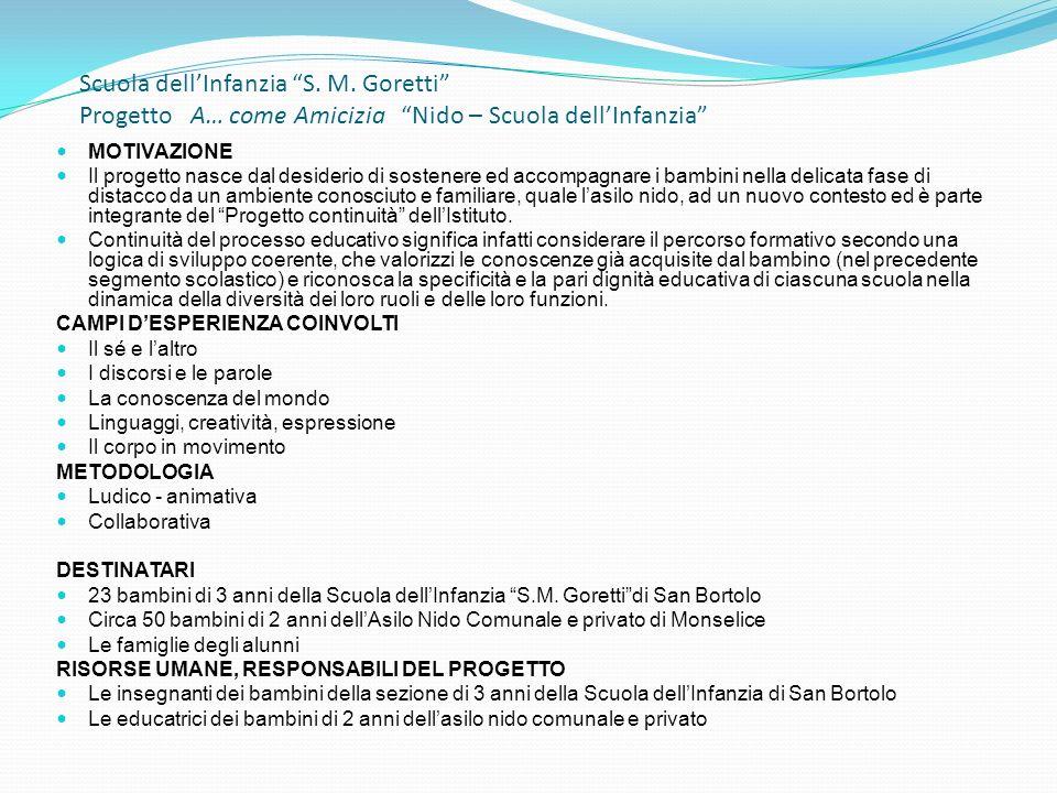 Scuola dellInfanzia S. M. Goretti Progetto A… come Amicizia Nido – Scuola dellInfanzia MOTIVAZIONE Il progetto nasce dal desiderio di sostenere ed acc