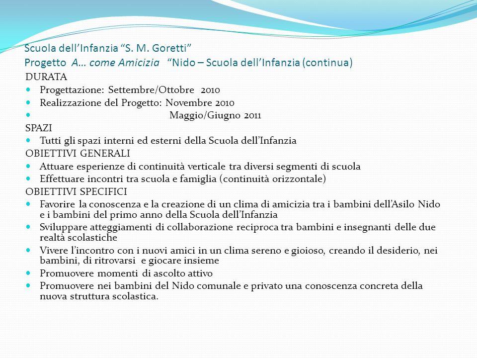 Scuola dellInfanzia S. M. Goretti Progetto A… come Amicizia Nido – Scuola dellInfanzia (continua) DURATA Progettazione: Settembre/Ottobre 2010 Realizz