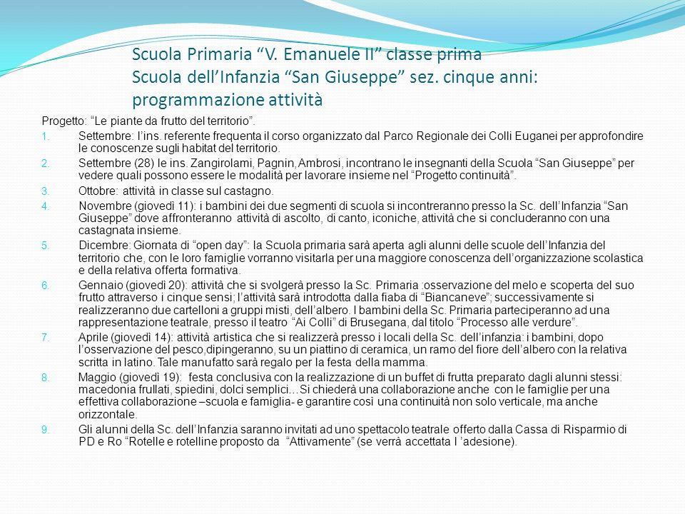 Scuola Primaria V. Emanuele II classe prima Scuola dellInfanzia San Giuseppe sez. cinque anni: programmazione attività Progetto: Le piante da frutto d