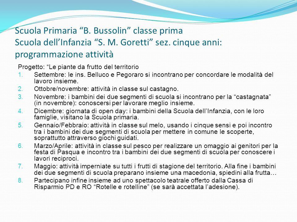 Scuola Primaria B. Bussolin classe prima Scuola dellInfanzia S. M. Goretti sez. cinque anni: programmazione attività Progetto: Le piante da frutto del