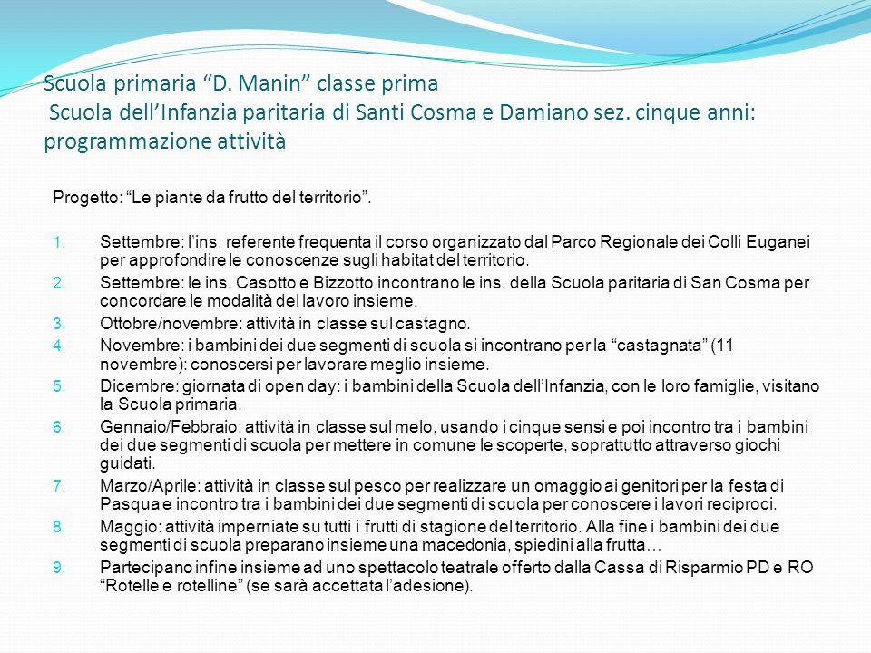 Scuola primaria D. Manin classe prima Scuola dellInfanzia paritaria di Santi Cosma e Damiano sez. cinque anni: programmazione attività Progetto: Le pi