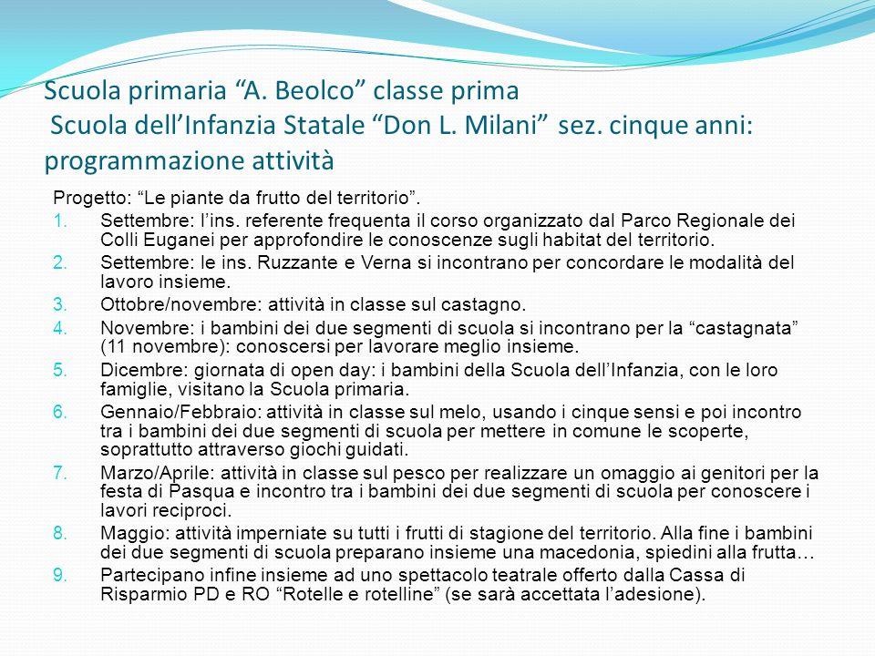 Scuola primaria A. Beolco classe prima Scuola dellInfanzia Statale Don L. Milani sez. cinque anni: programmazione attività Progetto: Le piante da frut