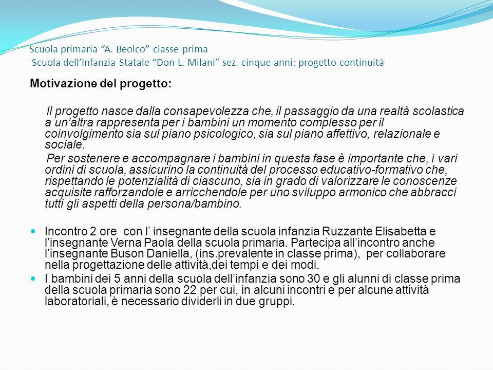 Scuola primaria A. Beolco classe prima Scuola dellInfanzia Statale Don L. Milani sez. cinque anni: progetto continuità Motivazione del progetto: Il pr