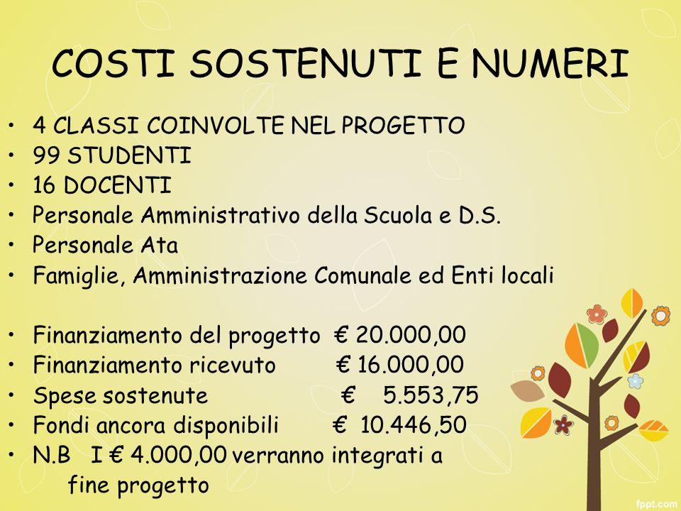 COSTI SOSTENUTI E NUMERI 4 CLASSI COINVOLTE NEL PROGETTO 99 STUDENTI 16 DOCENTI Personale Amministrativo della Scuola e D.S.
