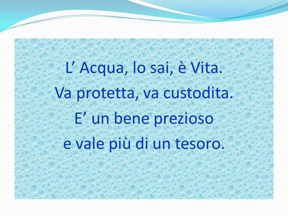 L Acqua, lo sai, è Vita. Va protetta, va custodita. E un bene prezioso e vale più di un tesoro.