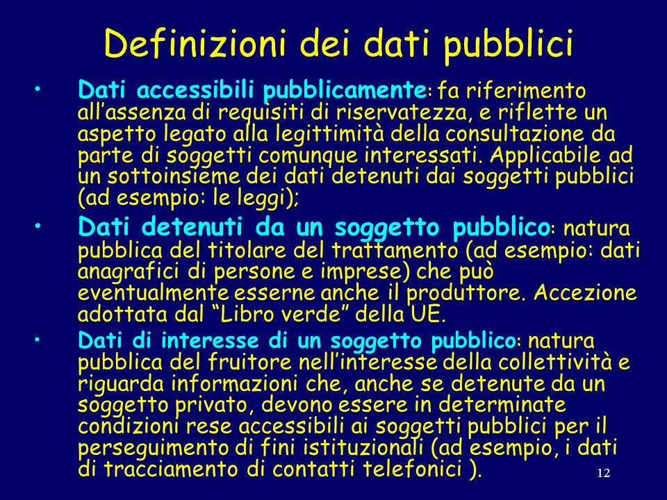 12 Definizioni dei dati pubblici Dati accessibili pubblicamente : fa riferimento allassenza di requisiti di riservatezza, e riflette un aspetto legato alla legittimità della consultazione da parte di soggetti comunque interessati.