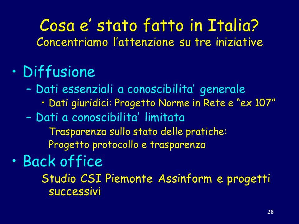 28 Cosa e stato fatto in Italia.