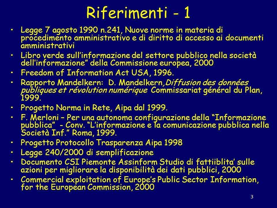3 Riferimenti - 1 Legge 7 agosto 1990 n.241, Nuove norme in materia di procedimento amministrativo e di diritto di accesso ai documenti amministrativi Libro verde sullinformazione del settore pubblico nella società dellinformazione della Commissione europea, 2000 Freedom of Information Act USA, 1996.