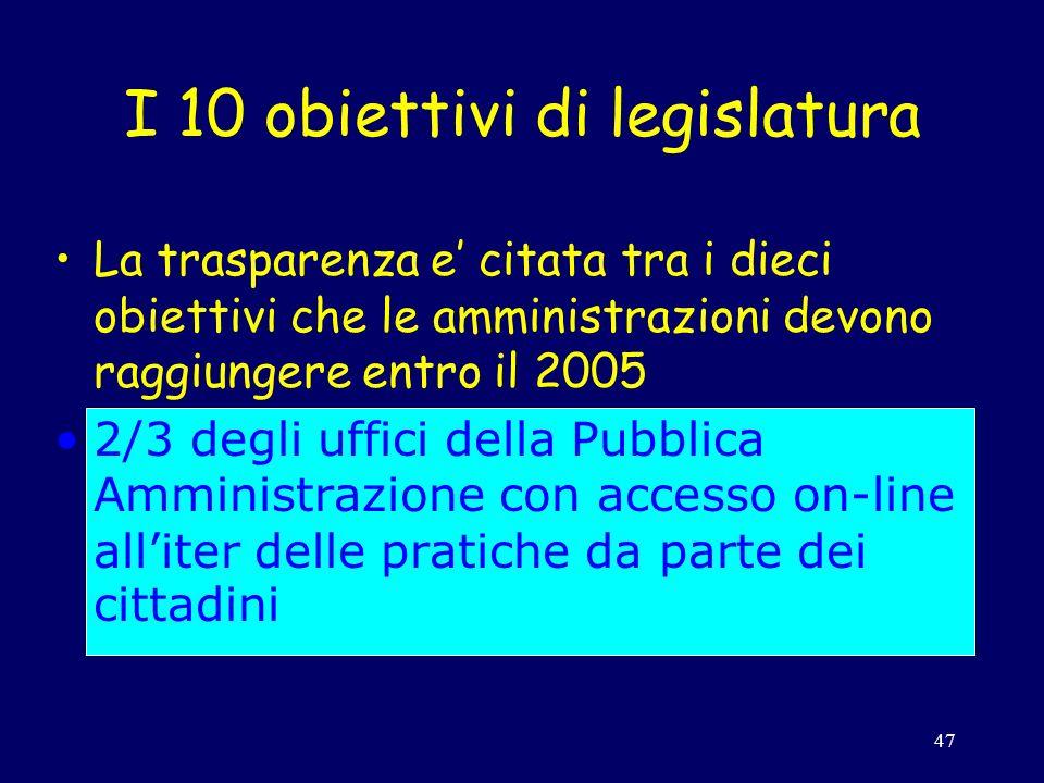 47 I 10 obiettivi di legislatura La trasparenza e citata tra i dieci obiettivi che le amministrazioni devono raggiungere entro il 2005 2/3 degli uffici della Pubblica Amministrazione con accesso on-line alliter delle pratiche da parte dei cittadini