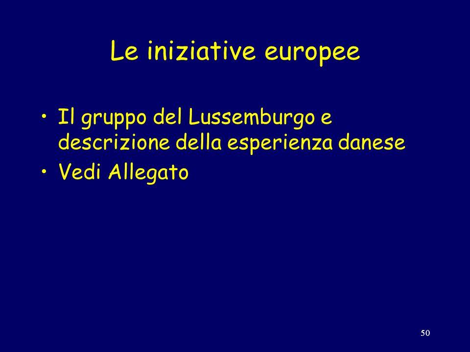 50 Le iniziative europee Il gruppo del Lussemburgo e descrizione della esperienza danese Vedi Allegato
