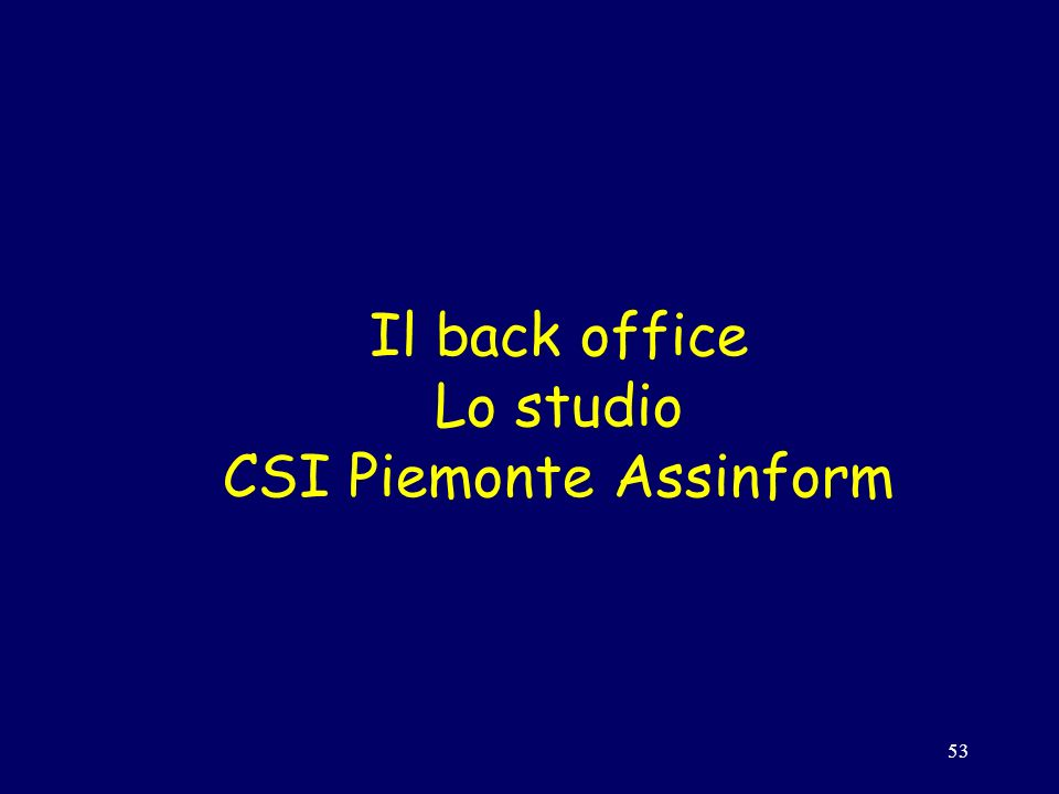 53 Il back office Lo studio CSI Piemonte Assinform