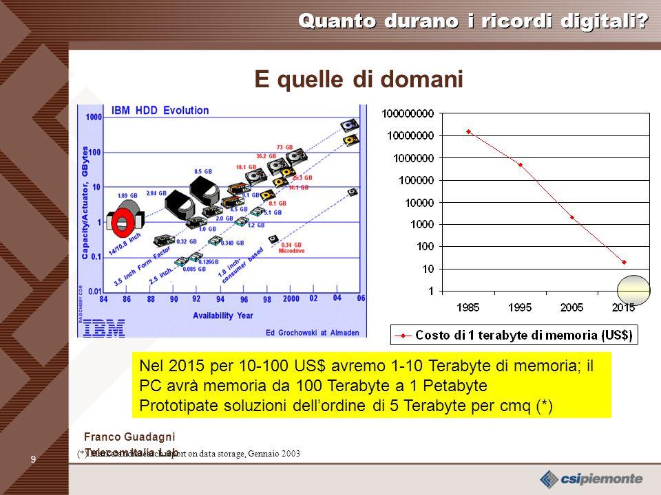 8 Franco Guadagni Telecom Italia Lab Le memorie di oggi Disponibili flash memories dellordine dei GB.