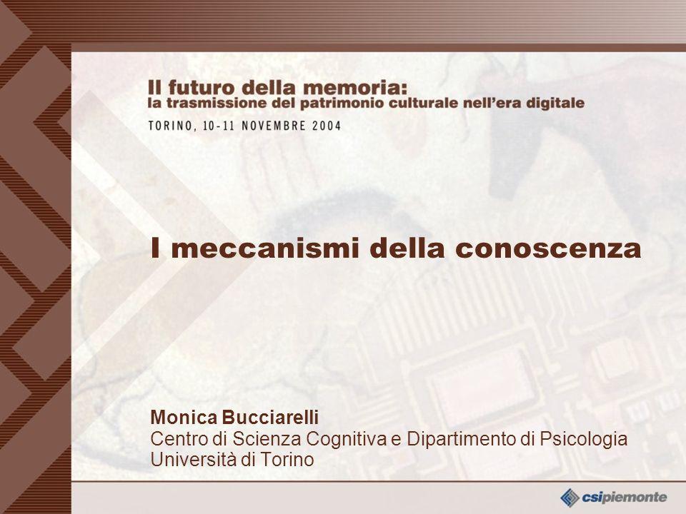 0 I meccanismi della conoscenza Monica Bucciarelli Centro di Scienza Cognitiva e Dipartimento di Psicologia Università di Torino Monica Bucciarelli Centro di Scienza Cognitiva e Dipartimento di Psicologia Università di Torino I meccanismi della conoscenza