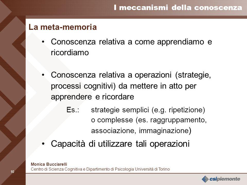 9 I meccanismi della conoscenza Monica Bucciarelli Centro di Scienza Cognitiva e Dipartimento di Psicologia Università di Torino Recupero di informazi