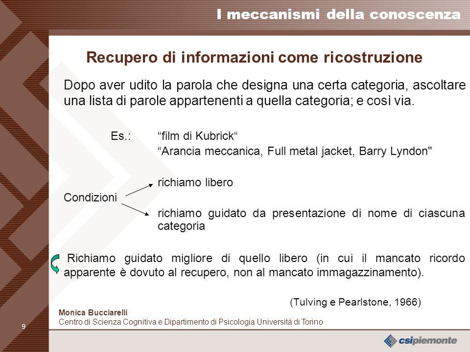 8 I meccanismi della conoscenza Monica Bucciarelli Centro di Scienza Cognitiva e Dipartimento di Psicologia Università di Torino Acquisizione di infor