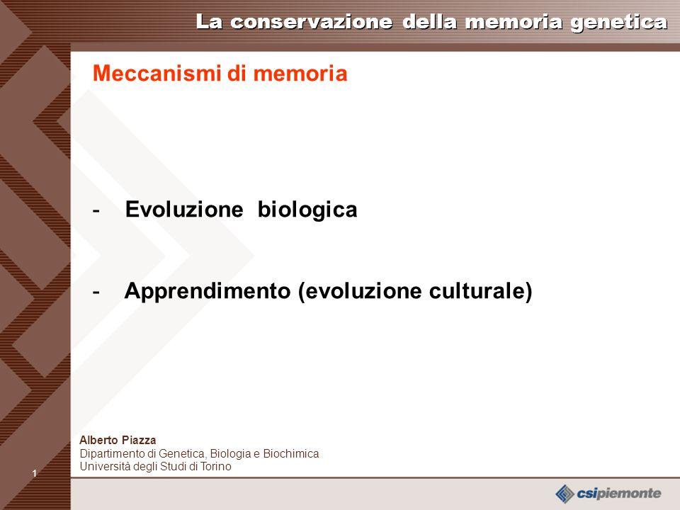 0 Alberto Piazza Dipartimento di Genetica, Biologia e Biochimica Università degli Studi di Torino alberto.piazza@unito.it La conservazione della memoria genetica