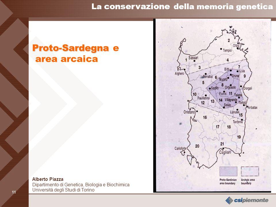 10 Un esempio di conservazione della memoria genetica: la Sardegna La conservazione della memoria genetica Alberto Piazza Dipartimento di Genetica, Biologia e Biochimica Università degli Studi di Torino