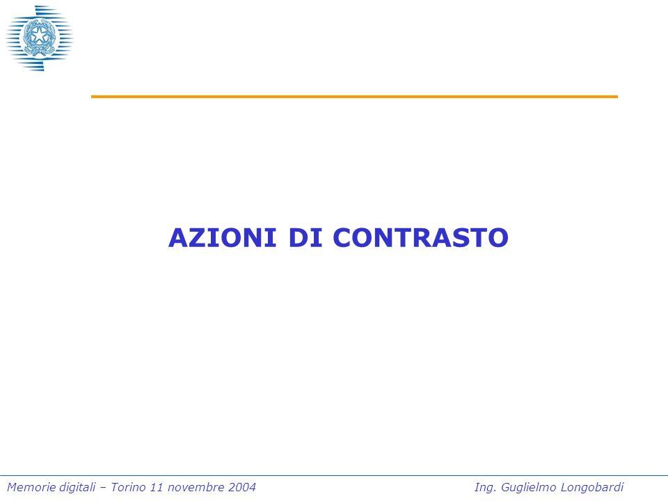 Memorie digitali – Torino 11 novembre 2004Ing. Guglielmo Longobardi AZIONI DI CONTRASTO