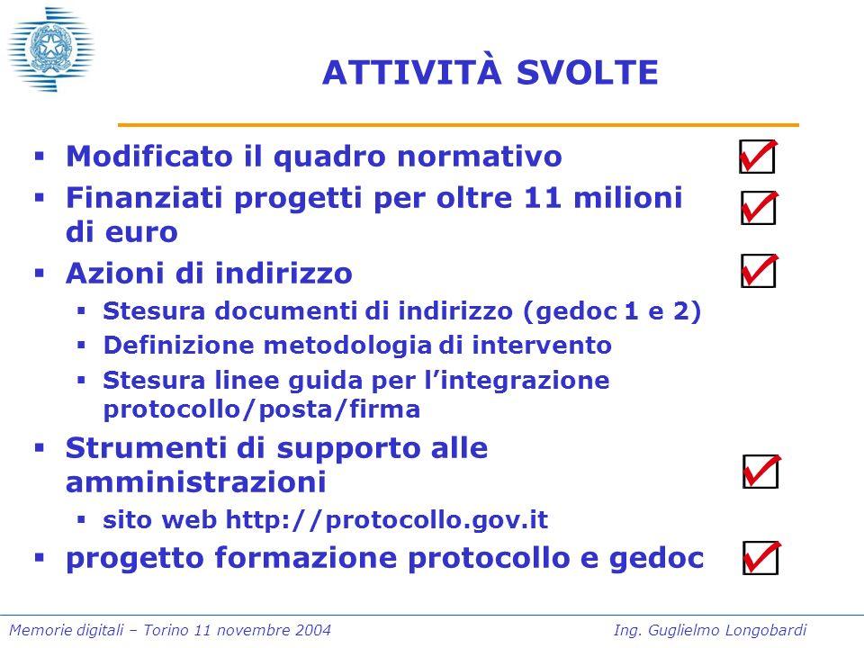 Memorie digitali – Torino 11 novembre 2004Ing. Guglielmo Longobardi …IN DEFINITIVA