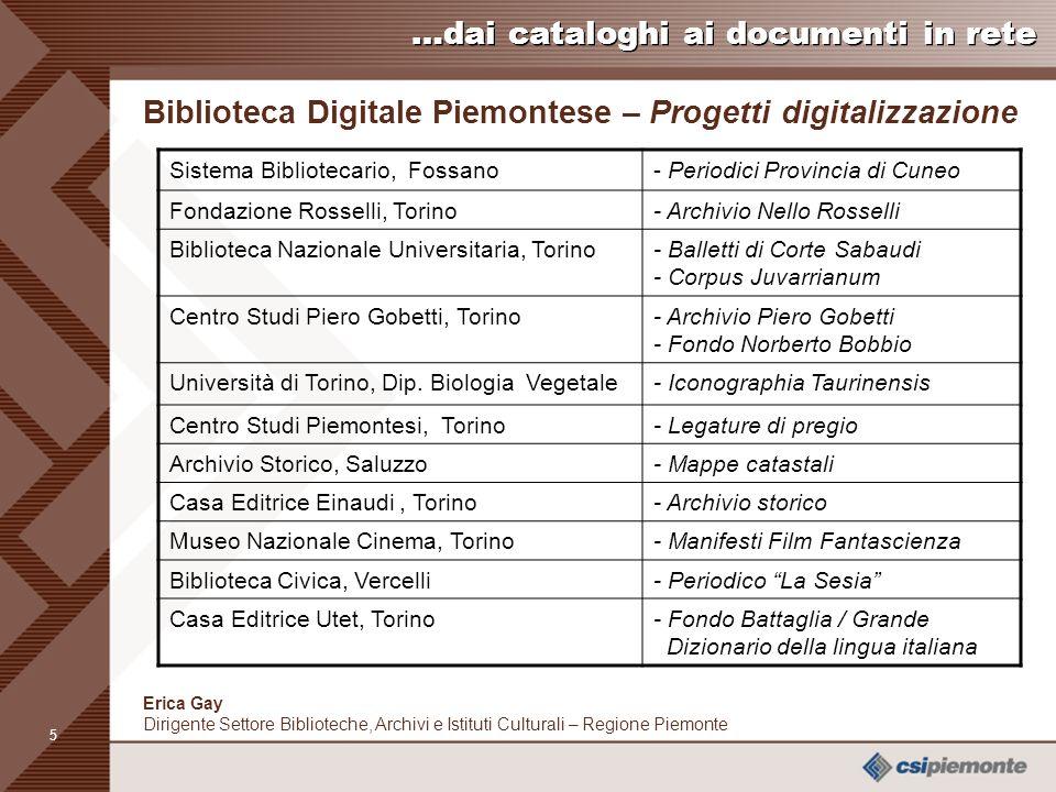 4 Erica Gay Dirigente Settore Biblioteche, Archivi e Istituti Culturali – Regione Piemonte …dai cataloghi ai documenti in rete Biblioteca Digitale Pie