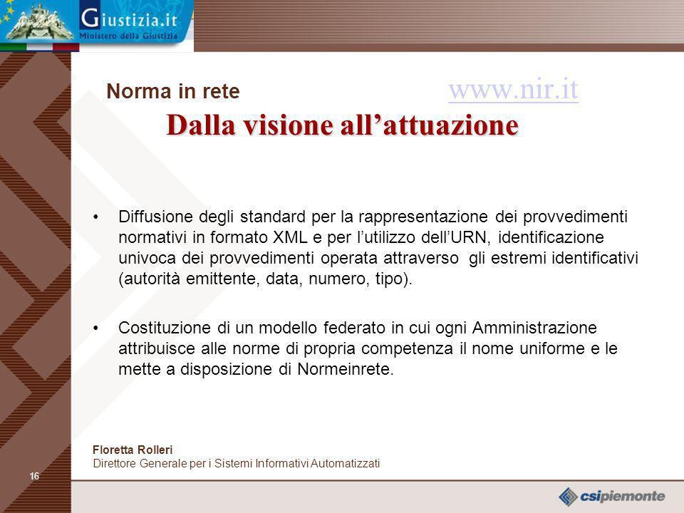 15 La visione Norma in rete www.nir.it La visione www.nir.it per i Cittadini: favorire la ricerca della documentazione giuridica pubblicata sui siti w