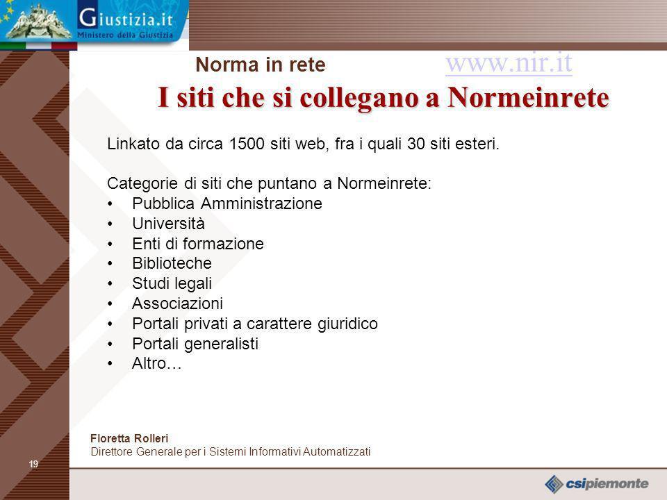 18 I grafici degli accessi e delle ricerche Norma in rete www.nir.it I grafici degli accessi e delle ricerche www.nir.it