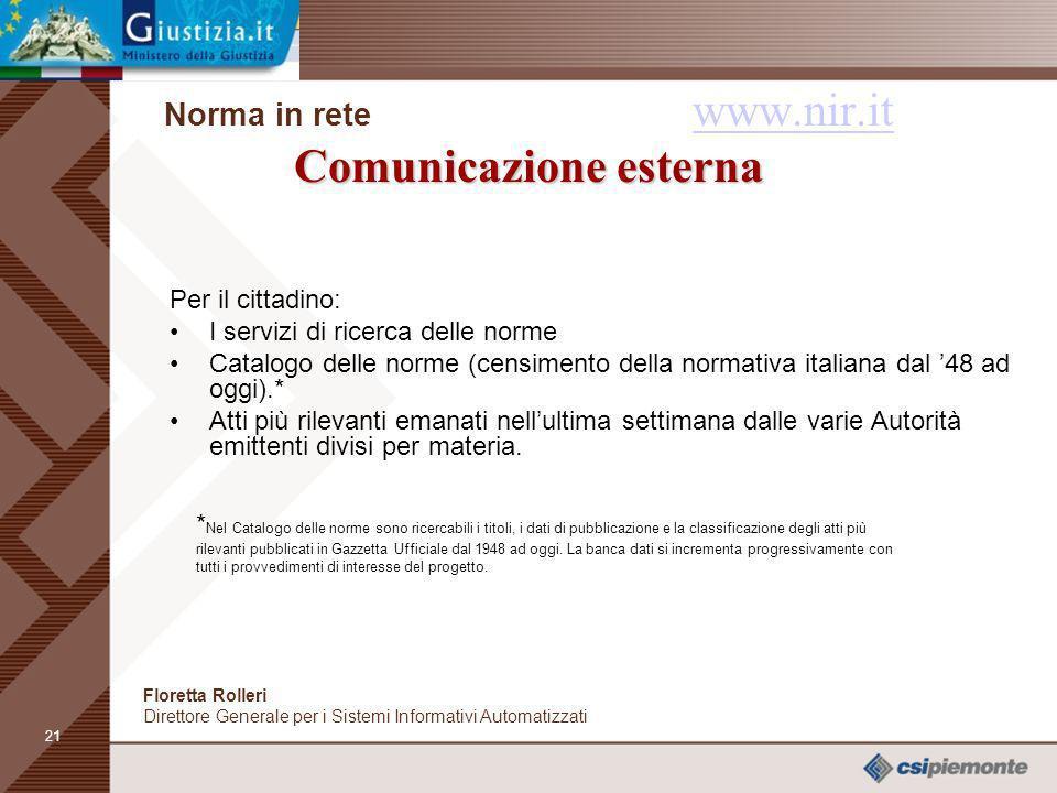 20 Comunicazione interna Norma in rete www.nir.it Comunicazione interna www.nir.it Per le Amministrazioni: Il registro delle Autorità Emittenti, che c