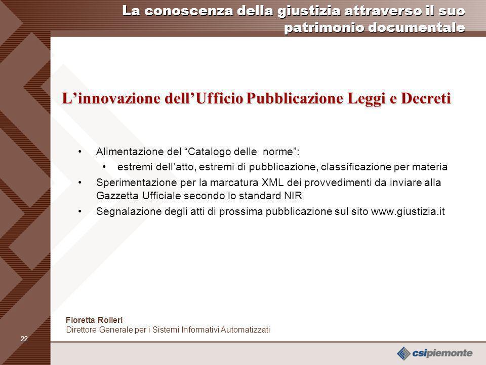 21 Comunicazione esterna Norma in rete www.nir.it Comunicazione esterna www.nir.it Per il cittadino: I servizi di ricerca delle norme Catalogo delle n